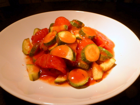 Zucchini and tomatoes is a favorite easy to prepare vegetable dish.