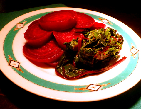 Don't throw out the beet greens, they are so delicious with the beet roots.