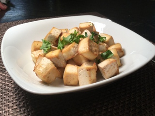 Oven roasted tofu is a tasty meat substitute to add to all your vegetable dishes!