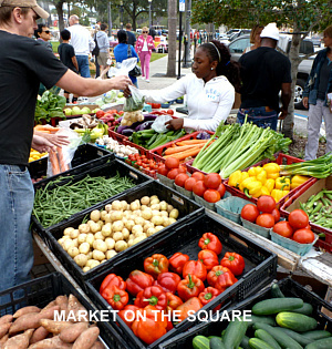 Your local market on the square is a great place to start vegetable and fruit shopping for the week.