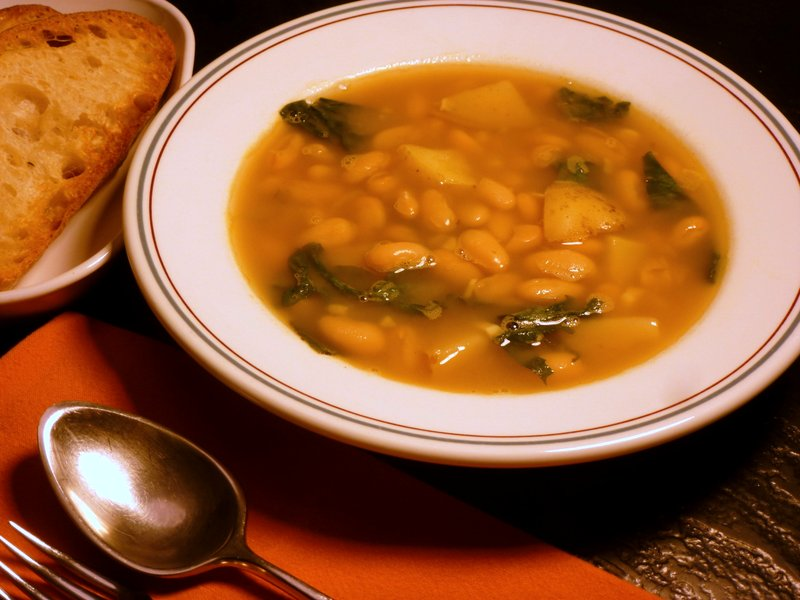 Beans, potatoes and escarole make an excellent soup!