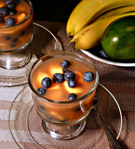 Peaches and blueberries make a sweet and light dessert, the perfect finish to a healthy meal.