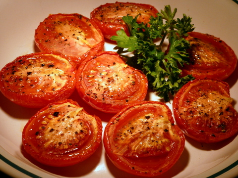 Slow roasted tomatoes are a real favorite. They can be eaten as a side dish or combined with pasta and rice dishes.