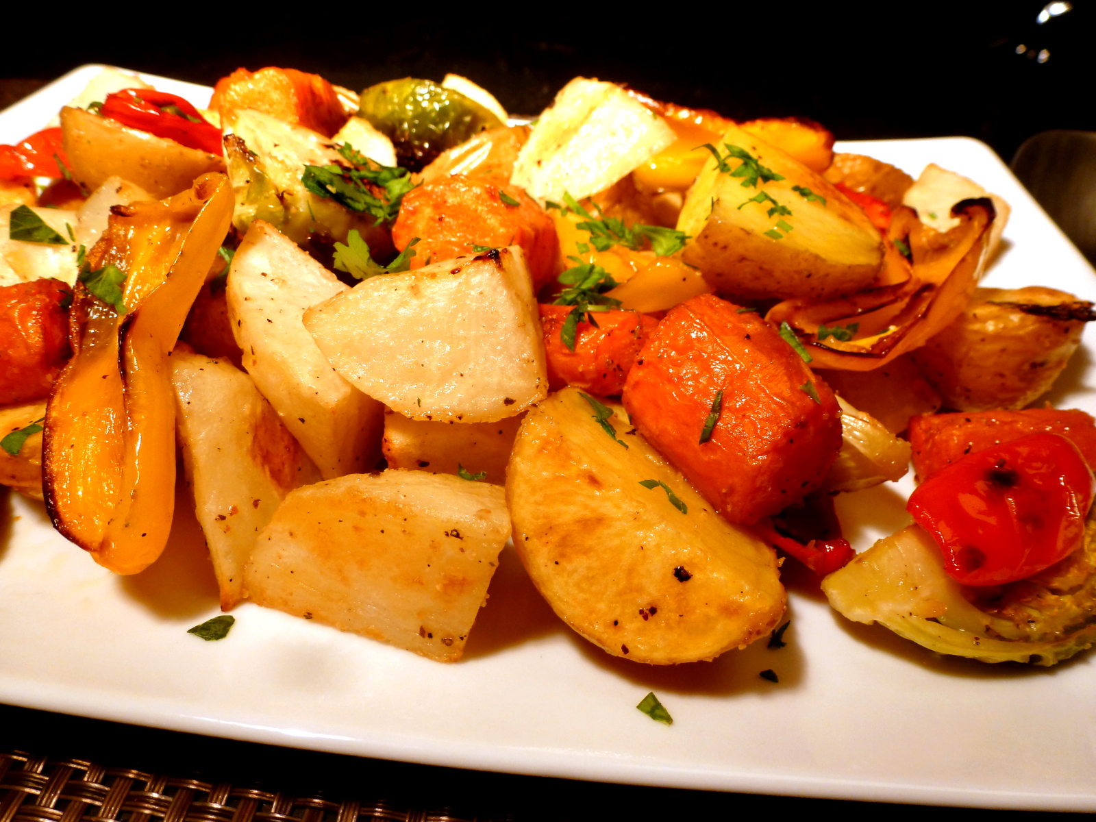 Roasted mixed vegetables are easy to prepare and can be served hot or cold.