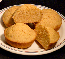 The corn muffins are moist inside and crispy outside.