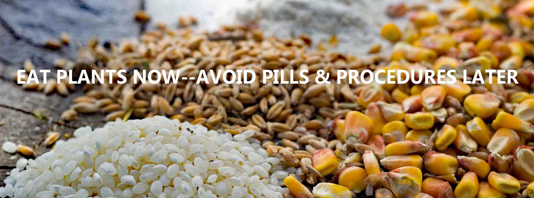 Plants as food include rice, corn and beans.