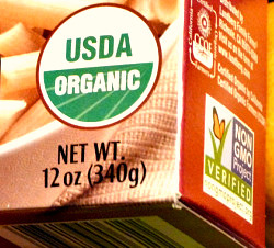 Avoid genetically modified foods and look for the organic label when shopping for groceries.